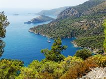 Coastline landscape of mediterranean sea turkey. Mediterranean sea landscape view of coast and mountains Stock Photos