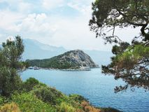 Coastline landscape of mediterranean sea turkey. Mediterranean sea landscape view of coast and mountains Royalty Free Stock Photo
