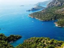 Coastline landscape of mediterranean sea turkey. Mediterranean sea landscape view of coast and mountains Stock Photo