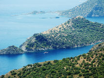Coastline landscape of mediterranean sea turkey. Mediterranean sea landscape view of coast and mountains Stock Images