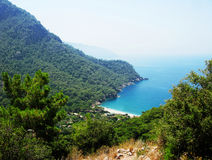 Coastline landscape of mediterranean sea turkey. Mediterranean sea landscape view of coast and mountains Stock Image