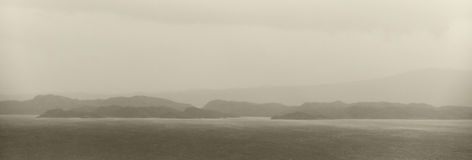 Coastline landscape in Skye isle. Rainy day. Scotland. UK Stock Image