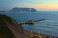 The Coastline of Lima, Peru at Twilight Stock Photo
