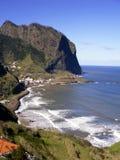 Coastline of Madeira. Coast with small village on madeira island, portugal Stock Photography