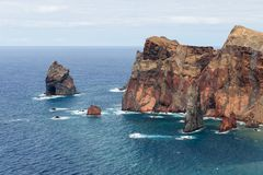 Coastline of Madeira with high cliffs along the Atlantic Ocean Royalty Free Stock Photography