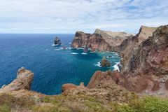 Coastline of Madeira with high cliffs along the Atlantic Ocean Stock Image