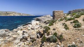 Coastline in Malta. Typical cosatline landscape on the north side of Comino island, Malta Stock Photography