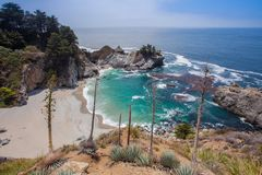 Coastline at McWay Falls in Pfeiffer Big Sur State Park, California, USA. Coastline and beach at McWay Falls in Pfeiffer Big Sur State Park, California Royalty Free Stock Photography