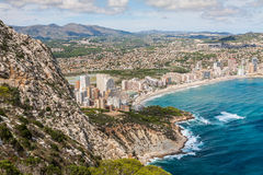 Coastline of Mediterranean Resort Calpe, Spain with Sea and Lake Royalty Free Stock Photo