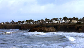 Mendocino village and surf along coastline Stock Image