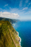 Coastline of Molokai island. Viewed from helicopter Royalty Free Stock Images