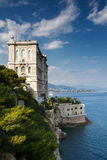 Coastline of Monaco overlooked by the Oceanographic Museum Stock Photography
