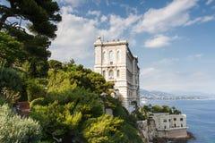 Coastline of Monaco overlooked by the Oceanographic Museum Royalty Free Stock Photos