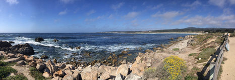 Coastline in Monterrey California. Panoramic view of rocky coastline along 17-mile drive located in Pebble Beach near Monterrey California Stock Image