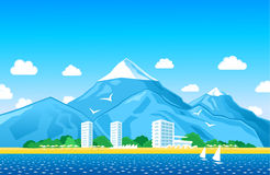Coastline with mountains Stock Photos