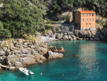 Coastline near Portofino. A solitary house on a bay near Portofino (north Italy Stock Images