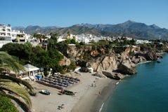 Coastline Nerja. View of the beach, Nerja, Costa del Sol, Malaga Province, Andalucia, Spain, Western Europe Stock Photo