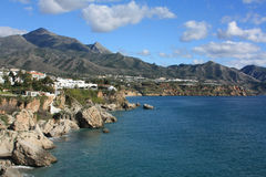 Coastline of Nerja, Spain Stock Images