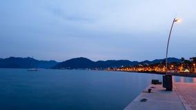 Coastline at night. Coastline of Marmaris at night royalty free stock photos