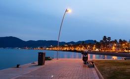 Coastline at night. Coastline of Marmaris at night royalty free stock images