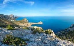 Coastline of Novyj Svit summer view Crimea, Ukraine. Coastline of  Novyj Svit  reserve summer panorama Capchik Cape, Crimea, Ukraine. Three shots high-resolution Stock Images
