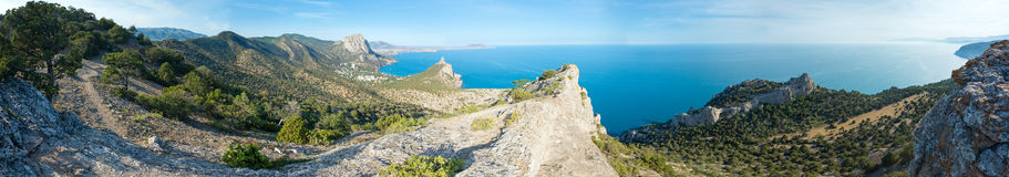 Coastline of Novyj Svit summer panorama (Crimea, Ukraine) Royalty Free Stock Images