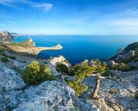 Coastline of Novyj Svit summer view Crimea, Ukraine. Coastline of  Novyj Svit  reserve summer view Crimea, Ukraine, Capchik Cape in center. Two shots high Stock Photo