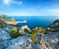 Coastline of Novyj Svit summer view Crimea, Ukraine. Coastline of  Novyj Svit  reserve summer view Crimea, Ukraine, Capchik Cape in center. Two shots high Royalty Free Stock Images