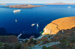 Coastline of Oia, Santorini, Cyclades, Greece. view from the hilltop and looking down to Aegean Sea Stock Photography