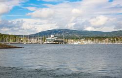 Coastline in Oslo. With boats, port and buildings Royalty Free Stock Photography