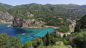 Coastline of Paleokastritsa bay , Corfu , Greece Stock Photos