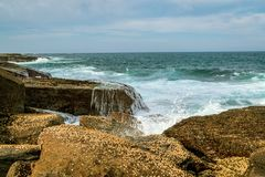 Coastline at Pebbly Beach NSW stock image