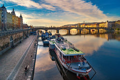 Coastline in Prague. Vltava. Prague street architecture. Views and sights of Czech republic. Royalty Free Stock Photos
