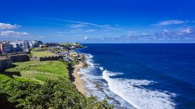 Coastline of Puerto Rico with Houses of Old San Juan and the Car stock photos