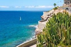Coastline from Puerto Rico to Amadores beach. Gran Canaria, Canary islands, Spain stock photo