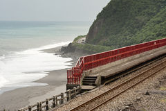 Coastline with railway Royalty Free Stock Photography