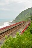Coastline with railway Royalty Free Stock Photo