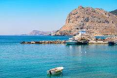 Coastline. Rhodes, Greece. View of Kolymbia bay. Rhodes, Dodecanese, Greece, Europe Royalty Free Stock Image