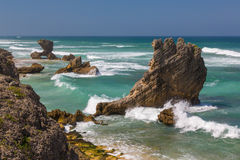 Coastline Rock Formations in South Africa. Beautiful coastline with rock formations at the coast at Kenton on Sea in South Africa Stock Photography