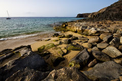 Coastline rock   waand summer in lanzarote spain Stock Photography