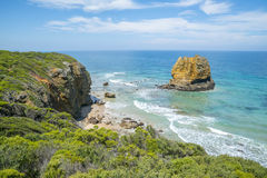 Coastline of a rocky beach along the Great Ocean Road, Victoria. Australia Royalty Free Stock Images