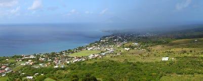 Coastline of Saint Kitts. Beautiful coastline of Saint Kitts from Brimstone Hill Fortress National Park Stock Photos