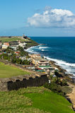 Coastline of San Juan. Its taken from one of Forts in Old San Juan, and the wall of Fort facing the ocean defends all the Puerto Rico in 20th Royalty Free Stock Images