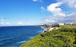 Coastline of San Juan, Puerto Rico and the ancient El Morro Cast. Le. Puerto Rico royalty free stock image
