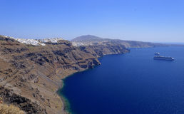 Coastline of Santorini island Stock Photography