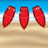 Coastline scene with boats. From top view vector illustration