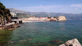 The coastline, the sea coast of the adriatic, .landscape with views of the resort of budva. Montenegro stock footage