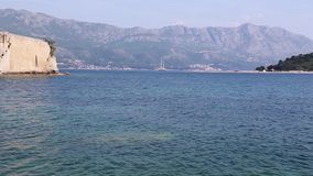 The coastline, the sea coast of the adriatic, .landscape with views of the resort of budva. Montenegro stock video footage
