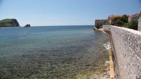 The coastline, the sea coast of the adriatic, .landscape with views of the resort of budva. Montenegro stock video