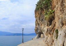 Coastline by the sea of Nafplio town in Greece stock photos